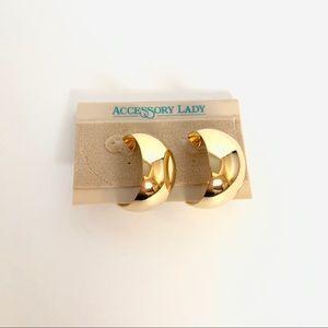 Vintage Gold Wide Gold Hoop Earrings
